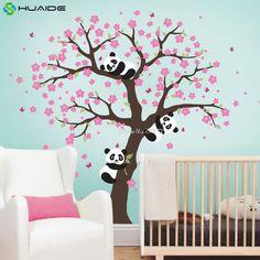 Mignon Panda et Cherry Blossom Arbre Sticker Pour Pépinière Grand arbre Stickers Muraux Pour Chambre D'enfants Fille Garçon Chambre Mur De Tatouage A400