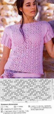 Очень красивый ажурный узор с ромбами для вязания на спицах   Домоводство для…
