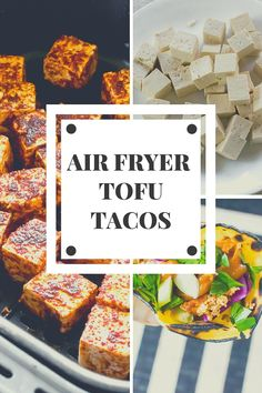Air fryer tofu tacos are a flavorful lightly spicy and delicious vegan taco meal. This vegetarian taco meal uses tofu taco meat as the air fryer taco base! You wont be disappointed with the flavor or texture of this tofu taco recipe! Easy Vegan Dinner, Vegan Dinner Recipes, Tofu Recipes, Vegan Dinners, Free Recipes, Vegetarian Recipes, Tofu Tacos, Vegetarian Tacos, Vegan Tacos