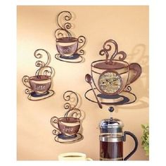 Wall Art & Clock Coffee Mug Art Metal Decor Cafe House Kitchen Bistro Latte Java