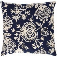 Fresh American Flora Crewel Navy Indoor / Outdoor Pillow