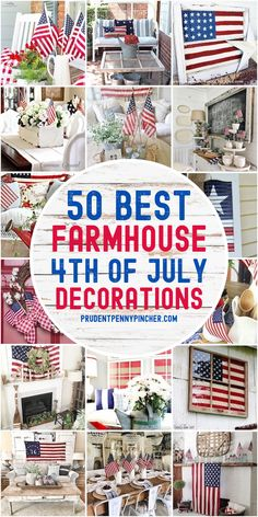 Add patriotic country charm to your home decor with these farmhouse 4th of July decorations. From patriotic centerpieces to 4th of July mantel decorating ideas, there are plenty of DIY 4th of July decor ideas with a farmhouse style. Fourth Of July Decor, 4th Of July Decorations, 4th Of July Party, July 4th, Ramadan Decorations, Holiday Decorations, Patriotic Crafts, July Crafts, Holiday Crafts