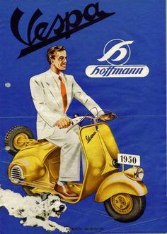 Vintage Vespa ad for the Licenced made German Hoffmann-Vespa