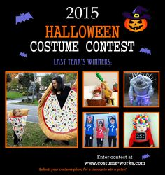 Enter our Halloween Costume Contest to show off your talent and for a chance to win cash prizes! Prize fund is $1,675 Join us at Costume-Works.com, we want to see all of your creative costume ideas!