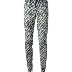 Proenza Schouler Pattern Print Jeans (195 AUD) ❤ liked on Polyvore featuring jeans, pants, bottoms, black, patterned skinny jeans, skinny fit jeans, 5 pocket jeans, leather skinny jeans and black leather skinny jeans