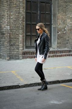 Biker boots, leather jacket, collar dress