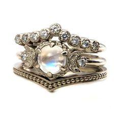 Moonstone Engagement Ring Set - Diamond Chevron Wedding Band and Millgrain Stacking by RingSwankMetalsmithing