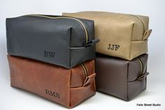 Leather toiletry bags - groomsman gift ideas!