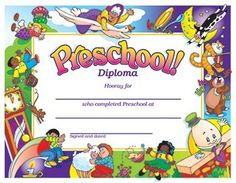 "Preschool Diploma 30/Pack, Colorful awards feature playful characters around a congratulatory message. 30 diplomas. 8½"" x 11"". Diploma reads: Preschool Diploma Hooray for ______ who completed preschool at ___________ Signed and dated __________"
