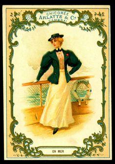 "French Trade Card - ""At Sea"". Arlatte & Co Coffee (Cambrai) c1910."