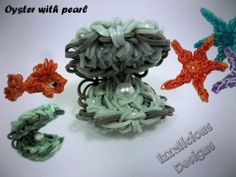 Oyster Tutorial using the Rainbow Loom - 2 looms are required Rainbow Loom Animals, Rainbow Loom Patterns, Rainbow Loom Creations, Crazy Loom Bracelets, Rainbow Loom Bracelets, Rubber Band Crafts, Rubber Bands, Loom Band Charms, Loom Bands Designs