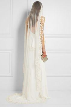 Rime Arodaky-Vesper embroidered silk-tulle veil