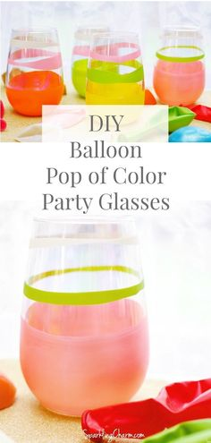 DIY Pop of Color Party Glasses. Try this quick DIY to add a pop of color to your glassware! Perfect to mark glasses at a party! Cute Crafts, Easy Crafts, Diy And Crafts, Crafts For Teens To Make, Crafts To Sell, Dollar Store Crafts, Dollar Stores, Colourful Balloons, Craft Tutorials