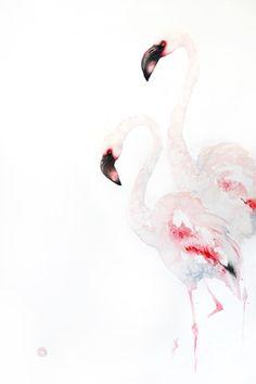 Karl Martens, Lesser Flamingoes (Unframed)   Cricket Fine Art