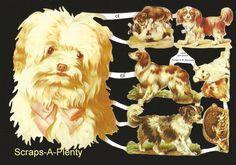 German Victorian Style Scrap Die Cut - Dogs & Puppies WOW    EF7070