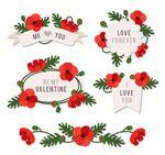 Valentine's day flower label vector