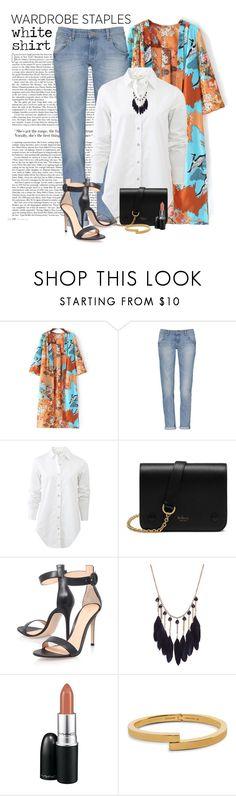 """Wardrobe staples: White shirt"" by yonnama ❤ liked on Polyvore featuring Ellos, rag & bone, Mulberry, Gianvito Rossi, MAC Cosmetics, Vita Fede, whiteshirt and WardrobeStaples"