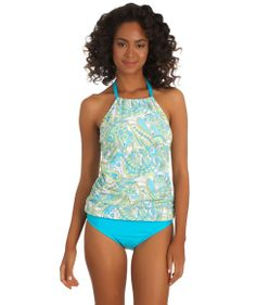 Athena Pool Paisley High Neck Tankini Top and Bikini Bottom