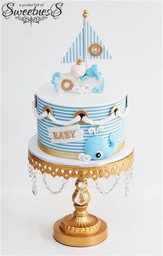 Nautical Baby Shower Cake by A Pocket Full of Sweetness