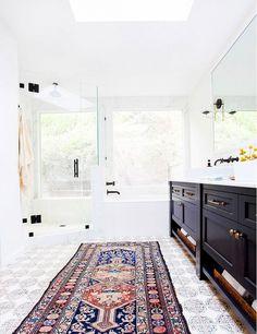 Master bathroom in a California eclectic home (Tabarka tile on the floor) Bad Inspiration, Bathroom Inspiration, Sweet Home, Küchen Design, House Design, Design Ideas, Tile Design, Design Trends, Home Interior