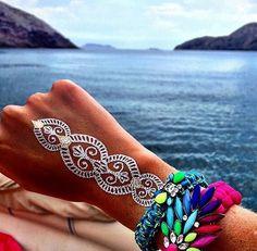 Tribal henna metallic flash tattoo  #temporary #tattoo #summer #tattoos