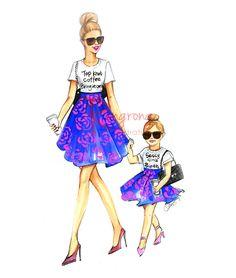 Ilustración del día de la madre mamá e hija pared arte el