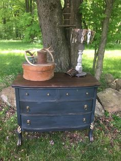 "For Sale: Navy blue antique oak dresser - Regal rich dark Annie Sloan mix navy blue with gold accents, lion pulls on Larger drawers and coordinating knobs on top two drawers. Rich stained wood top. 42"" wide, 21"" deep, 36"" tall. $185obo"