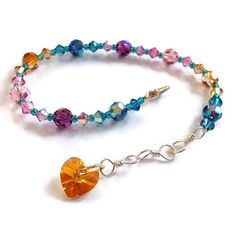 Jewel Toned Swarovski Crystal Heart Strung Beaded by EmilysEscape, $20.00