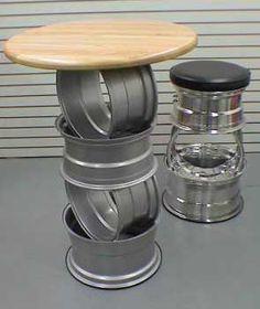 tire rim bbq grill | tire rim table/stool