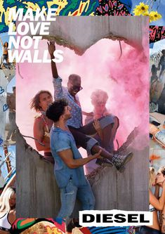 David LaChapelle takes on Trump's wall with flamboyant Diesel campaign, Make Love Not Walls David Lachapelle, Fashion Advertising, Creative Advertising, Advertising Campaign, Print Advertising, Make Love, How To Make, Diesel Brand, Logos Retro