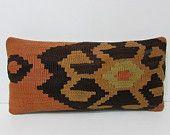orange lumbar pillow orange throw pillow orange decorative pillow orange kilim pillow orange pillow cover orange pillow case cushion 25309