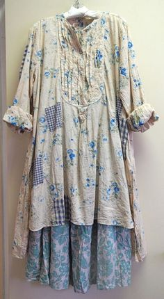 I can just see me gardening at my little cottage by the sea in this! blueberry jam printed floral European cotton Kerisa Top with the new Kahlo Skirt.at Katie Koos: