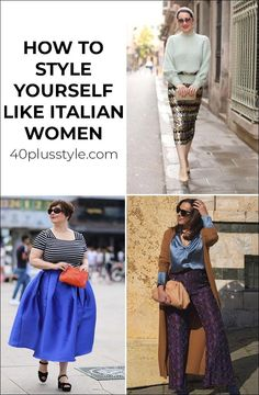 Italian fashion: How to style yourself like Italian women | 40lusstyle.com Italian Women Style, Italian Chic, Italian Fashion, Beautiful Dresses, Beautiful Women, Style Challenge, Stylish, Womens Fashion, How To Wear
