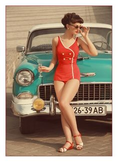 Pin up red bathing suit retro vintage car. Now I need a retro swim suit! Retro Mode, Vintage Mode, Retro Vintage, Vintage Cars, Vintage Hipster, Vintage Classics, Baby Bikini, The Bikini, Bandeau Bikini