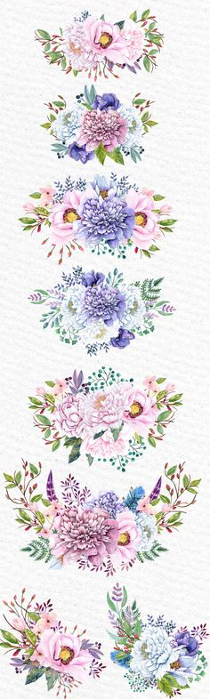 ON SALE 30% Watercolor bouquets clipart: PEONIES