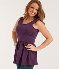 Skippy Swing Tank  Soft heather knit and a lightly gathered peplum make this Skippy Swing Tank as flattering as they come! As sweet as it is fun, this feminine top will work wonders with big ruffles and Finn pants alike! Item #: AT1597 $42.00