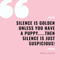 A dog quote saying 'Silence is golden Unless you have A puppy.Then silence is just suspicious! Puppy Quotes Funny, Puppy Love Quotes, Funny Dog Memes, Baby Quotes, Funny Dogs, Dog Humor, Funny Animals, Cuddle Quotes, Rottweiler Funny