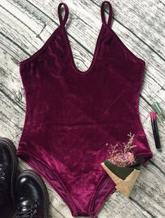 SHARE & Get it FREE | Plunging Neck Slip Velvet BodysuitFor Fashion Lovers only:80,000+ Items • New Arrivals Daily Join Zaful: Get YOUR $50 NOW!