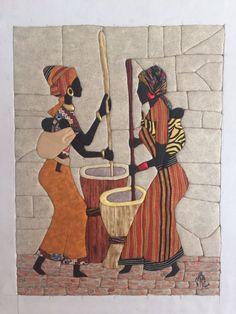 Felt Flower Pillow, African Art Paintings, Intarsia Patterns, Clay Wall Art, Batik Art, Beautiful Barbie Dolls, Leather Art, Mural Art, Bottle Art