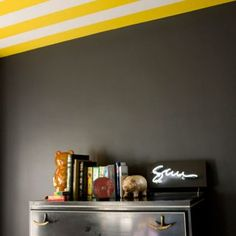 Give your home an easy, eye-catching update with a few pots of colour and a big dose of inspiration Striped Ceiling, Living Etc, Upstairs Hallway, Paint Stripes, First Home, Ideal Home, Smart Home, Colorful Decor, Paint Colors