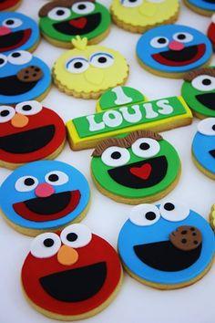Elmo Cookies, Elmo Cake, Fondant Cookies, Cookies For Kids, Cupcake Cookies, Sesame Street Cake, Sesame Street Cookies, Sesame Street Birthday, Sesame Street Cupcakes
