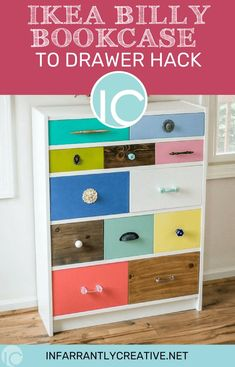 IKEA Billy Bookcase to Drawer Hack is an inexpensive DIY project. It can be a colorful add to your decor and used almost anywhere in you house that you need storage. I walk you through how to add drawers to an Ikea Billy Bookcase. Click over to learn how. Billy Ikea Hack, Ikea Billy Bookcase Hack, Billy Bookcases, Bookshelves, Rag Quilt Instructions, Bookcase With Drawers, Knock Off Decor, Kura Bed, Ikea Furniture