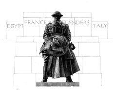 "Illustration of C.S. Jagger's ""Royal Artillery Memorial"" (1921-25), Hyde Park Corner, London. by DrawnAndPrinted on Etsy https://www.etsy.com/listing/230677349/illustration-of-cs-jaggers-royal"