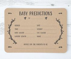 A beautiful set of Gender-Neutral Baby Prediction Cards. An exciting way to engage everyone at Baby showers and a nice keepsake for the mum-to-be afterwards. The simple and rustic design allows them to work with a variety of themes. Baby Prediction Pack I Baby Shower Game Gifts, Idee Baby Shower, Shower Gifts, Baby Shower Goodie Bags, Unisex Baby Shower, Baby Shower Keepsake, Ideas For Baby Shower, Baby Boy Shower Games, Baby Shower Twins