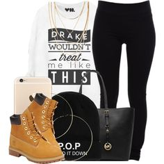 A fashion look from November 2014 featuring Helmut Lang leggings, Timberland boots and MICHAEL Michael Kors tote bags. Browse and shop related looks.
