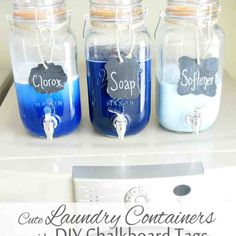 Mason Jar Laundry Soap Containers with DIY Chalkboard Tags by Simply Designing Laundry Organization just got easier! I get these smaller topped mason jars at TJ Maxx Laundry Room Organization, Laundry Room Design, Organization Hacks, Laundry Rooms, Laundry Storage, Laundry Detergent Storage, Laundry Decor, Organizing Tips, Laundry Room Decorations