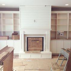 Fireplace progress. And, more #shiplap. ☺️#thebrandlsbuildahouse