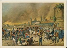 Vintage Russian  Postcard -  Moscow in 1812  Fire of Moscow in 1812.  Austrian artist unknown.  The State Museum of AS Pushkin.  The events of the War of 1812$3.99