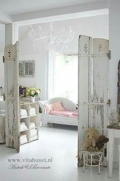 Add shelves for my magazines...so shabby cute!