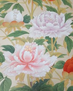 오랜만에보니 반가워^^ 모란도!! ##민화#문선영#석류#모란도#새#전통채색화#양평#민화수업#미술스타그램 #artspace #동양화작업실 #동양화#목단#꽃스타그램 #한국적 Korean Art, Asian Art, Peony Flower, Flowers, Korean Painting, Oriental, Silk Painting, Chinoiserie, Peonies